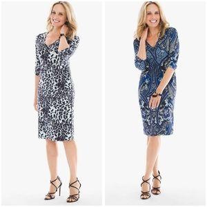 Chico's Reversible-Print Short Dress Paisley Blue